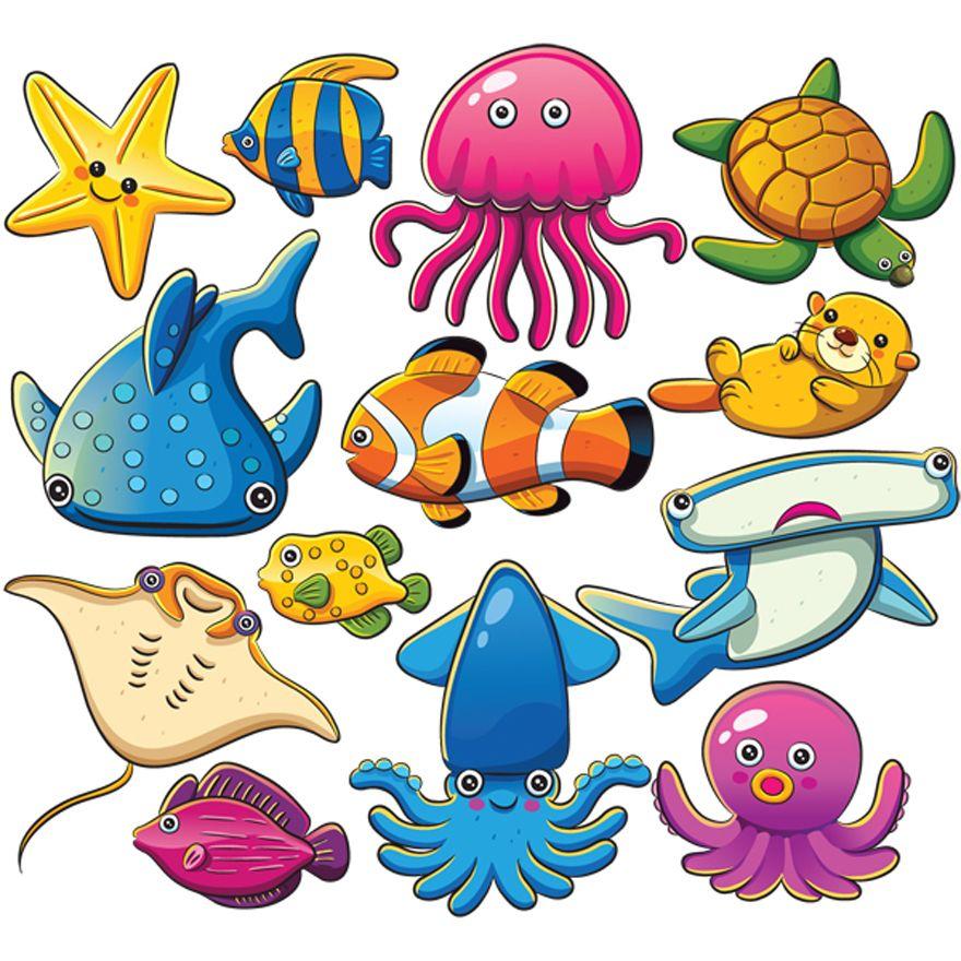 880x880 vivid marine animals fish cartoon sea animals, sea animals