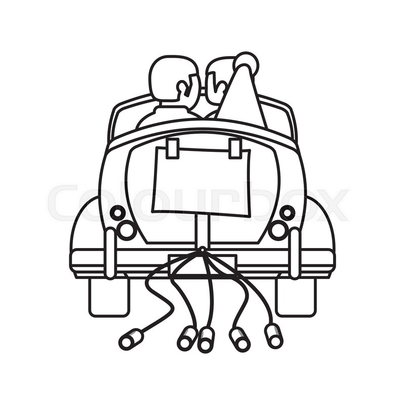 800x800 Couple Car Just Married Outline Vector Stock Vector Colourbox