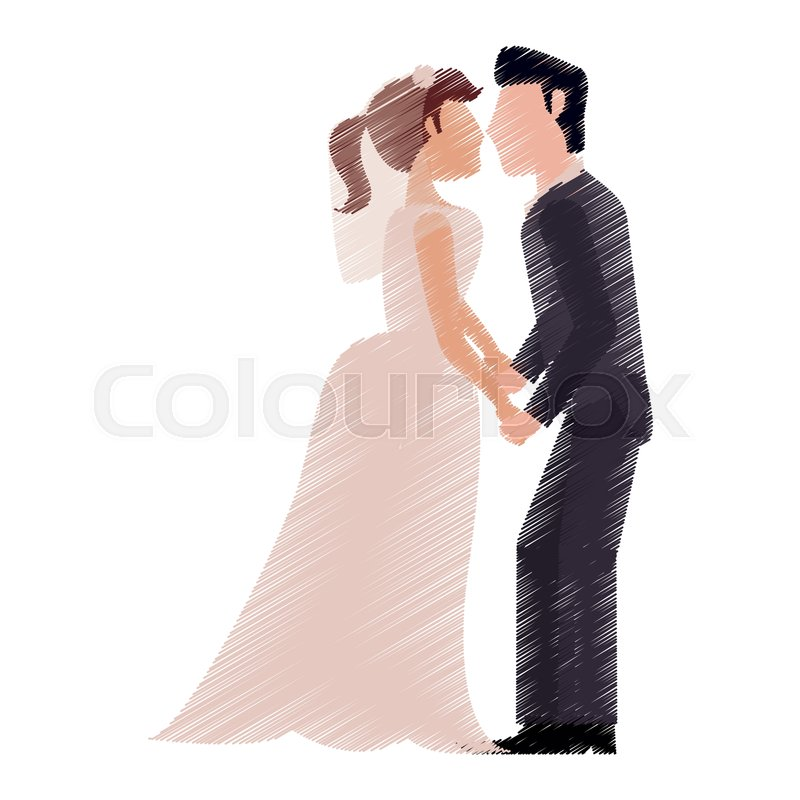 800x800 Drawing Couple Romantic Wedding Stock Vector Colourbox