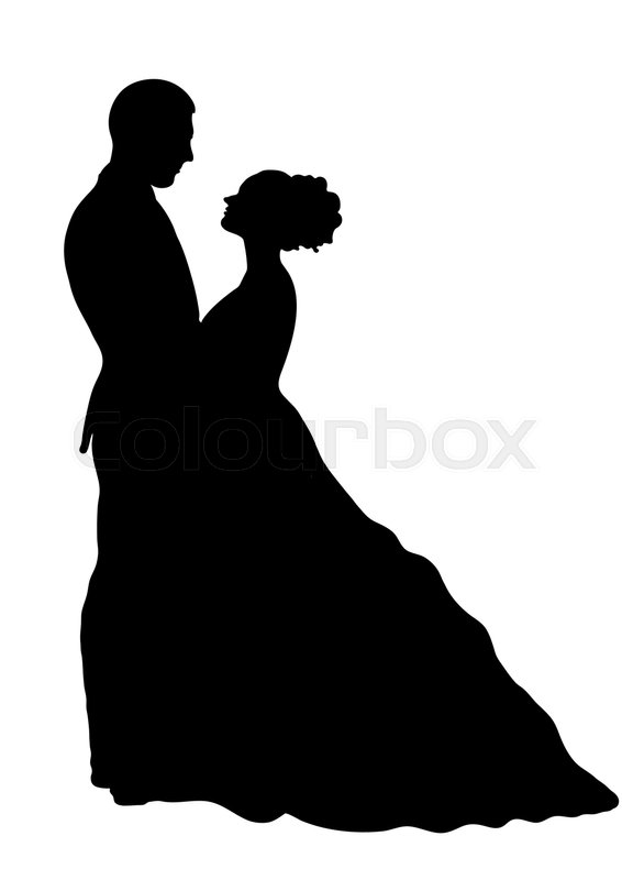 566x800 Bride And Groom Silhouette, Vector Stock Vector Colourbox