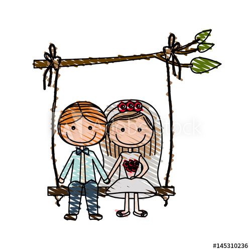 500x500 Color Pencil Drawing Of Caricature Married Couple Sit In Swing