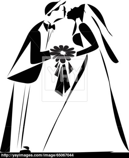 419x512 Just Married Couple Silhouette Vector