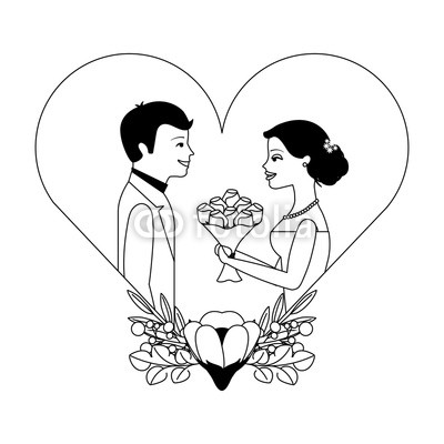 400x400 Married Couple With Floral Decoration In Heart Vector Illustration