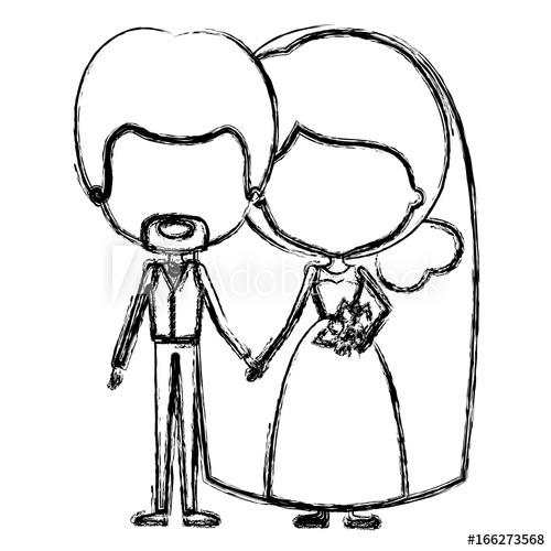 500x500 Monochrome Blurred Silhouette Of Caricature Faceless Newly Married
