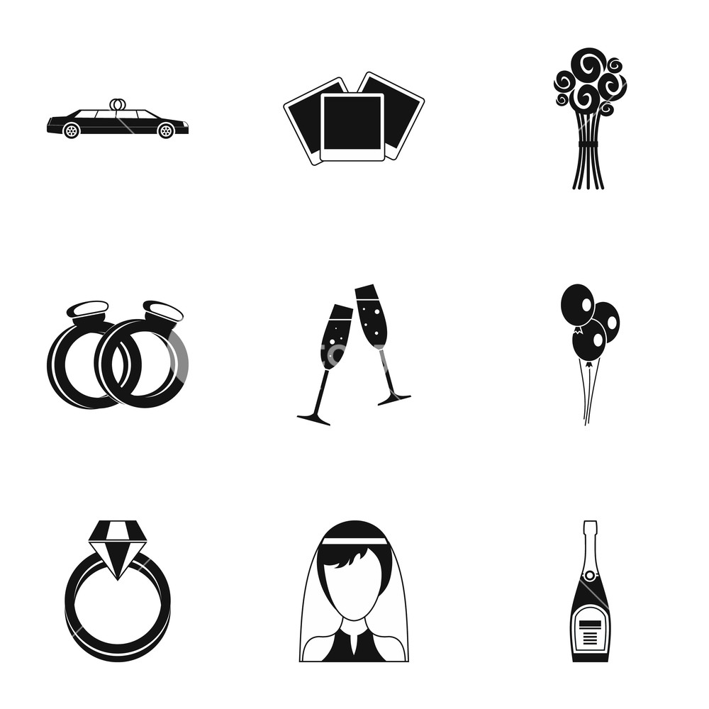 1000x1000 marriage icons set simple illustration of marriage vector icons