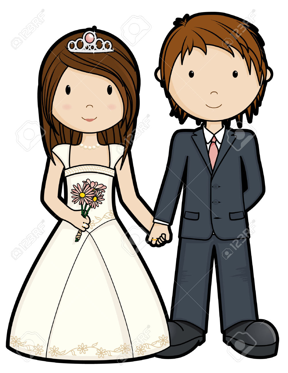 1004x1300 Just Married Couple Clipart
