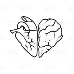 300x300 Photostock Vector Sketch Silhouette Heart With Half Body Cartoon