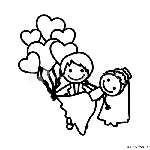 500x500 Figure Married Couple With Red Heart Bombs, Vector Illustraction