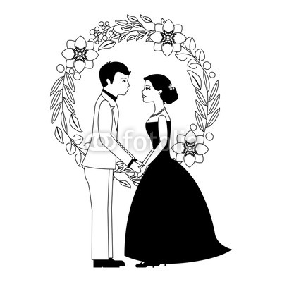 400x400 Married Couple With Floral Decoration Icon Vector Illustration