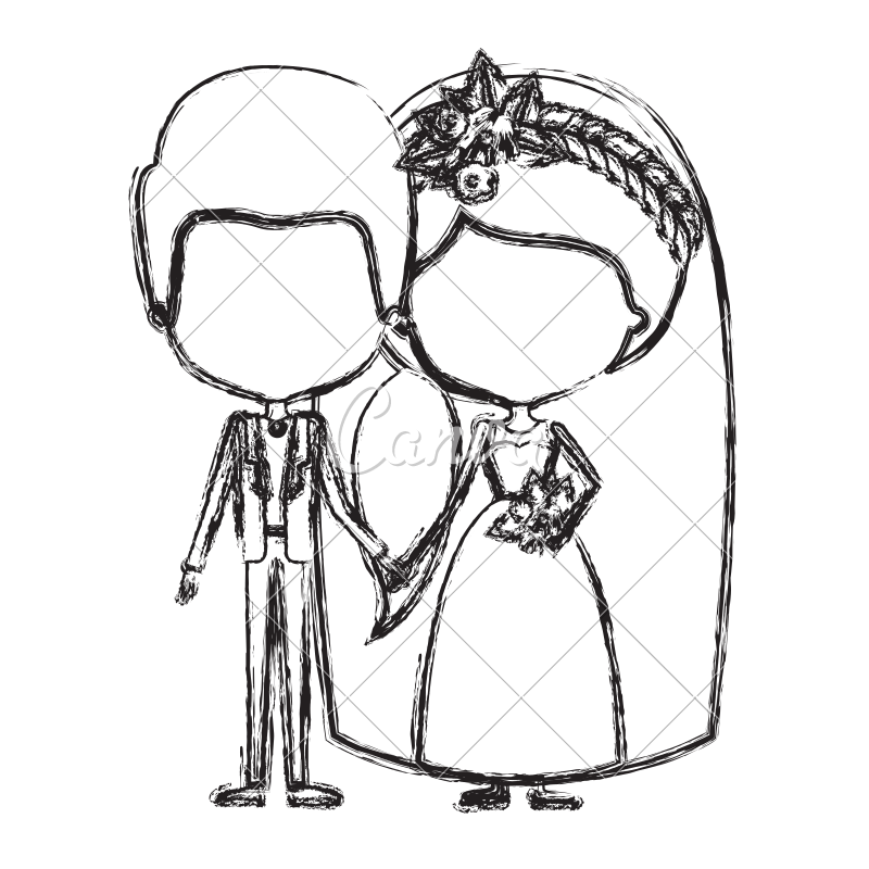 800x800 Faceless Newly Married Couple Illustration