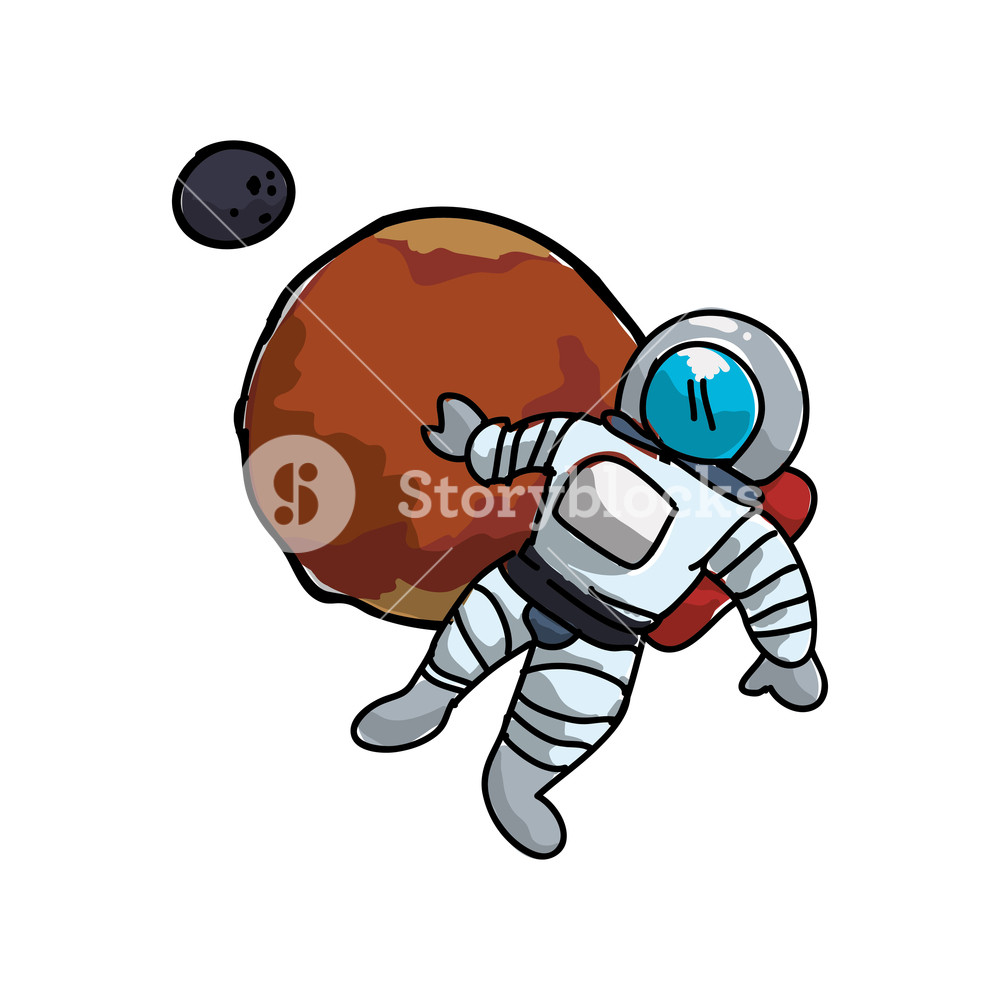 1000x1000 Mars Planet With Astronaut Vector Illustration Design Royalty Free