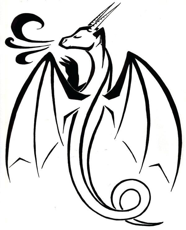 600x743 Simple Dragon Outline Free Dragon Drawings Simple Welsh Dragon