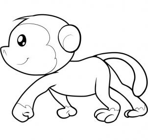 302x284 Drawing Of Monkey How To Draw A For Kids Howtodrawforkids Coloring