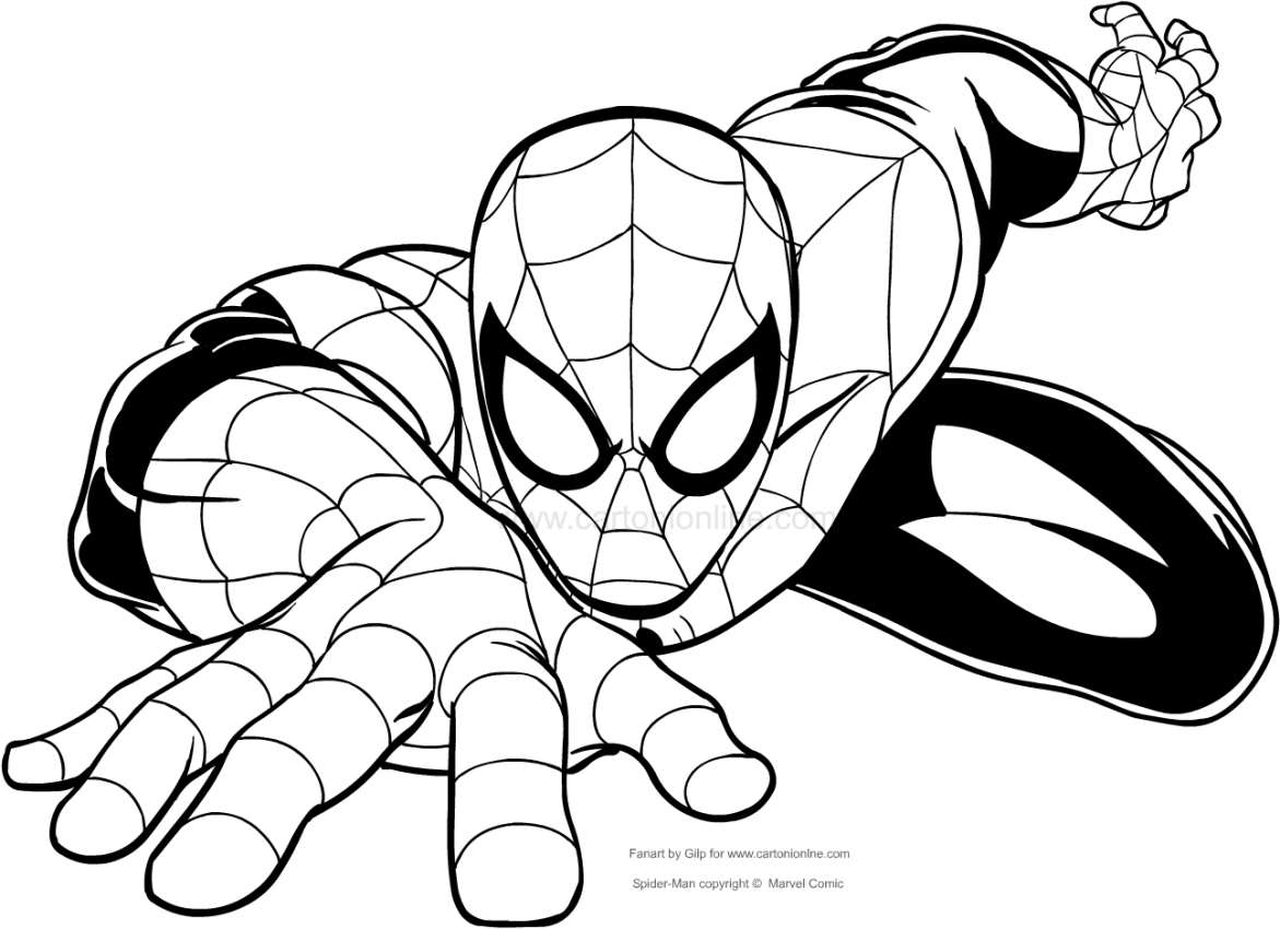 1171x850 Drawing Spider Man Climbing To The Wall Coloring Page