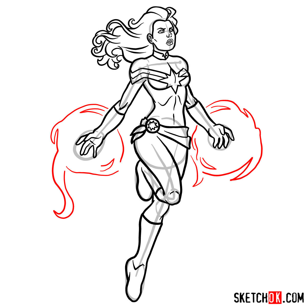 1200x1200 How To Draw Captain Marvel