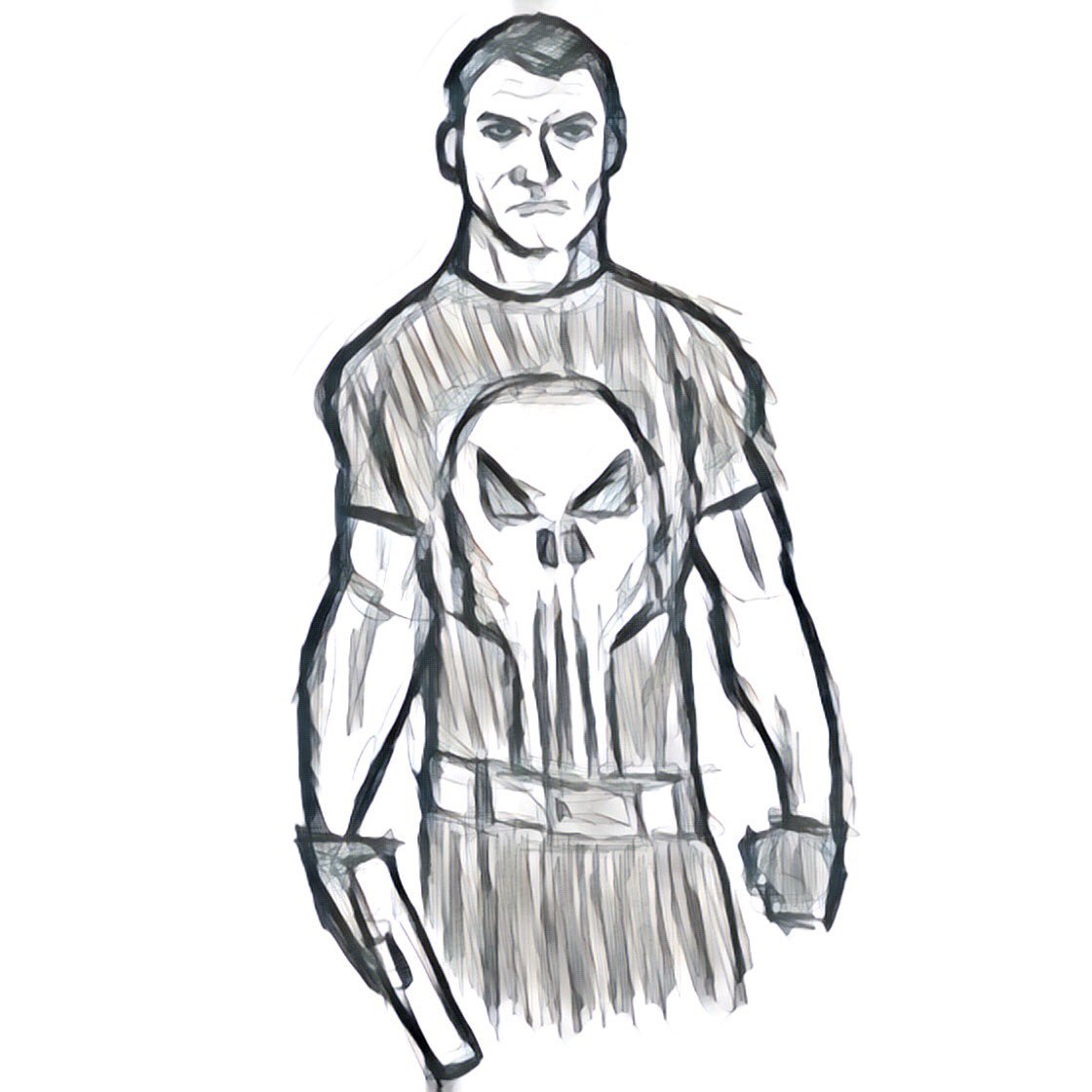1120x1120 Dan Greenwald On Twitter Rough Punisher Sketch, Finished