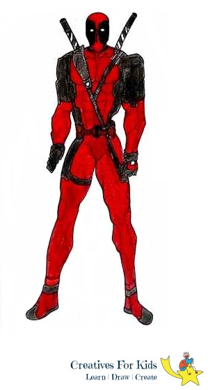 299x561 How To Draw Deadpool Step