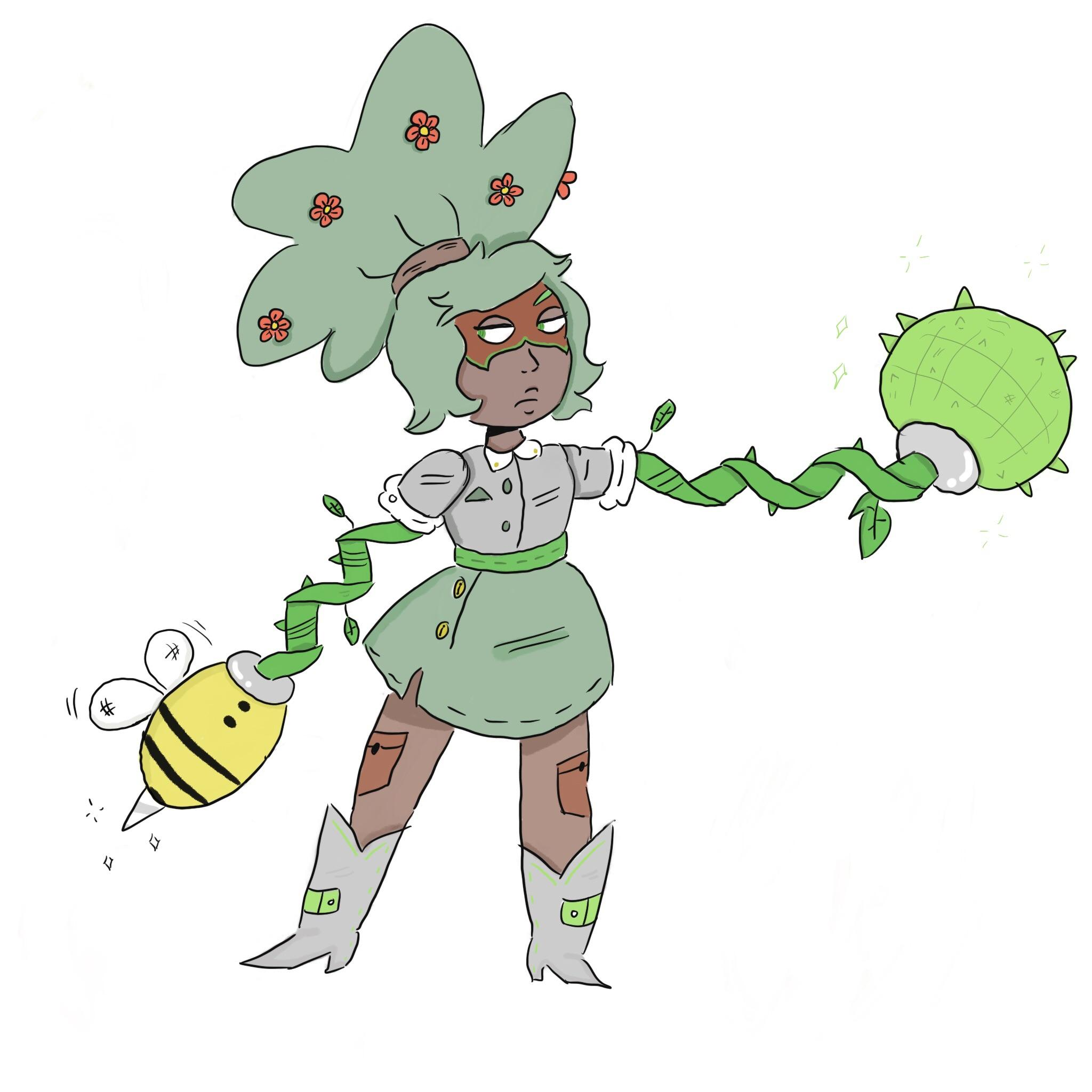 2048x2048 the final drawing of my plant arms oc, rose mary!! arms
