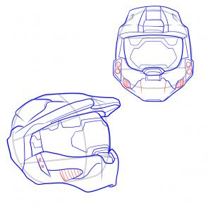 302x302 How To Draw A Halo Helmet, Step
