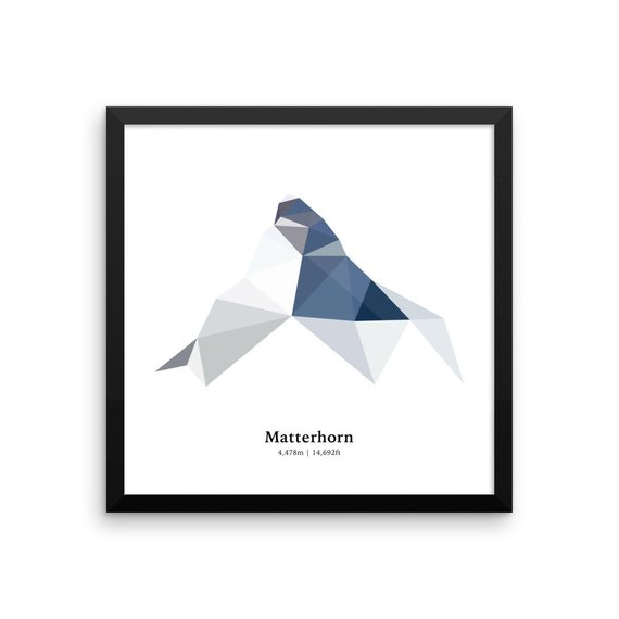 570x570 Polygon Print Of The Matterhorn In Zermatt Swiss Alps Etsy