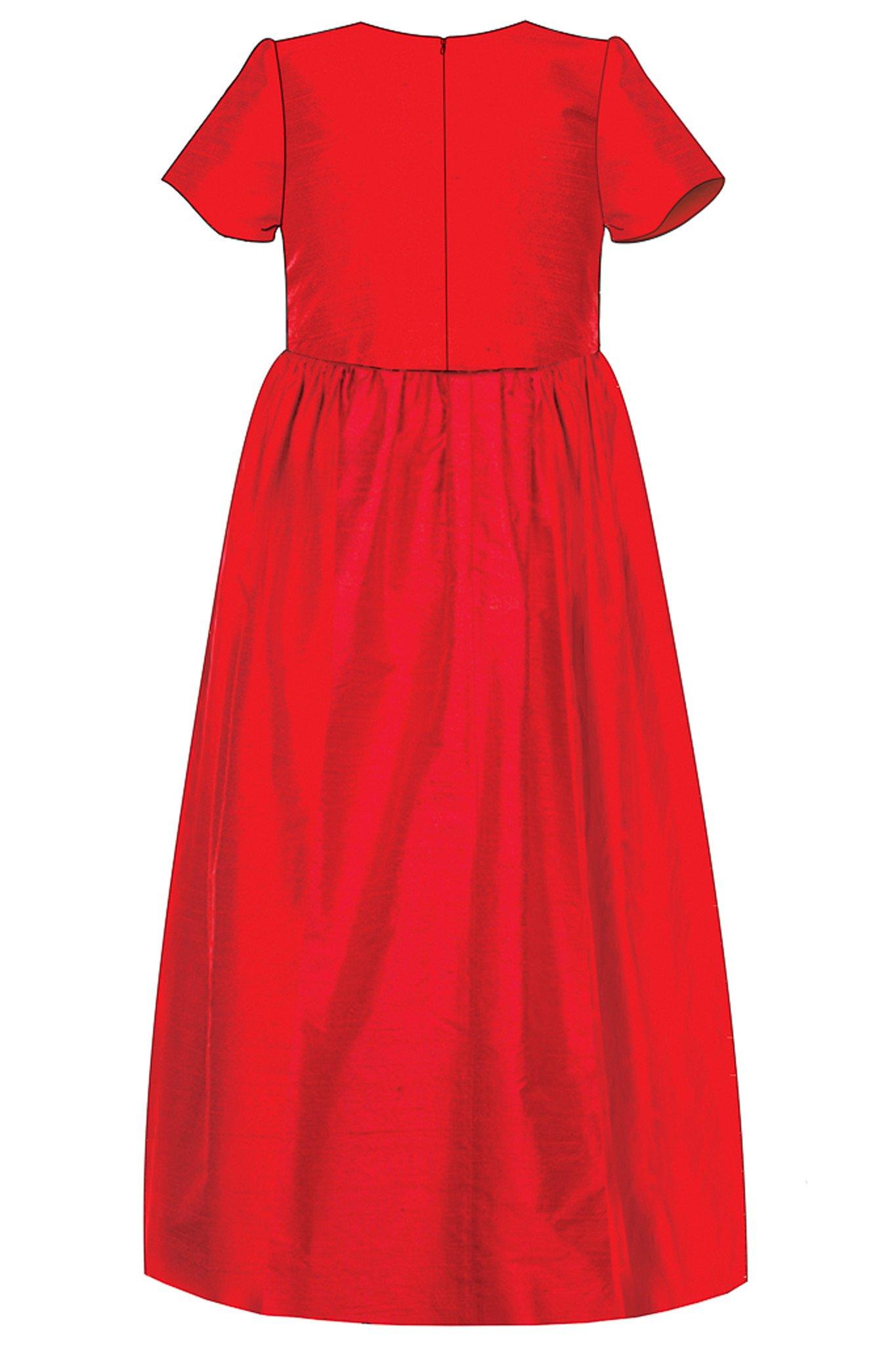 1365x2048 lazy francis red raw silk girls maxi dress with black lace lazy
