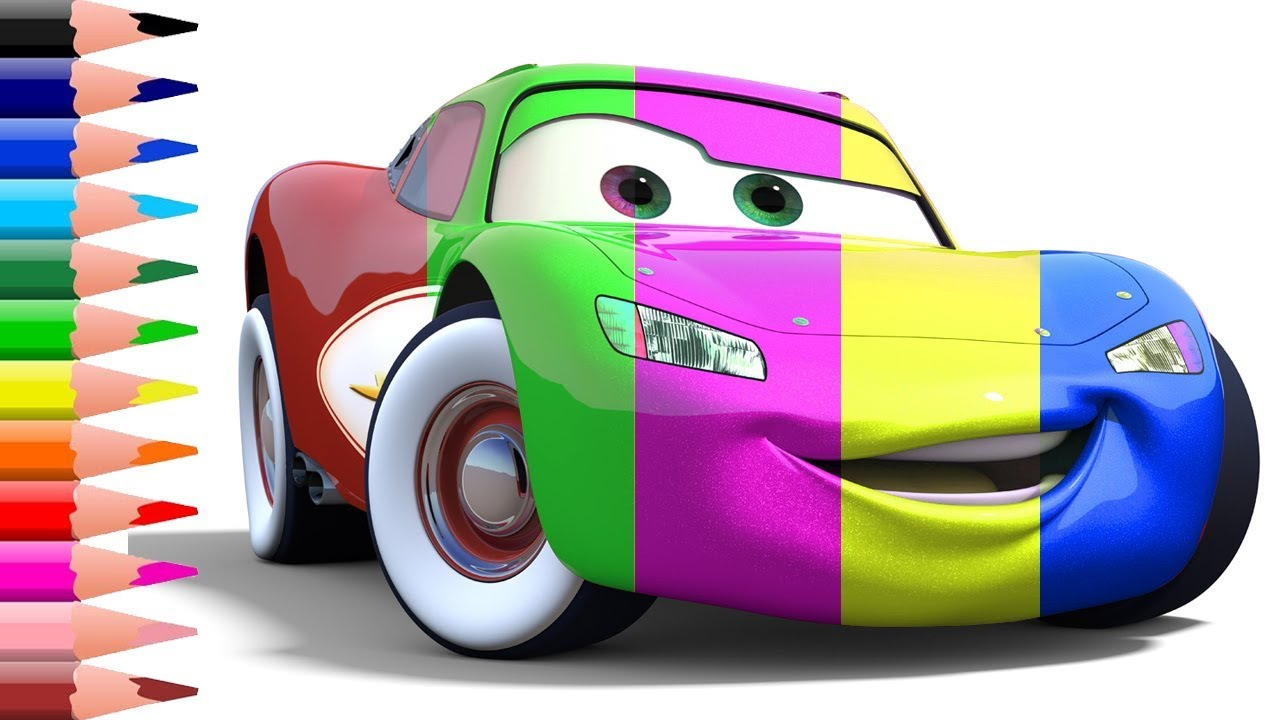 1280x720 How To Draw Color Cars Lightning Mcqueen Kids Drawing