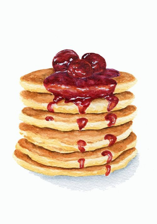 500x716 pancake food illustrations in food painting, food