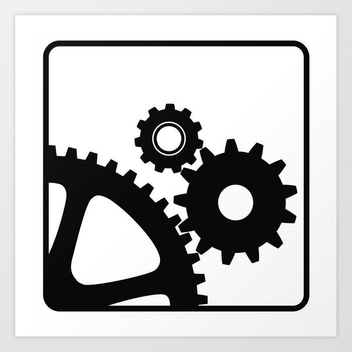 700x700 three mechanical wheels icon technology settings symbol art print