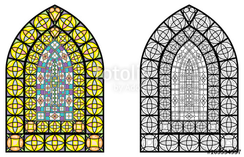 500x323 Church Stained Glass Windows, Vector Illustration In Color