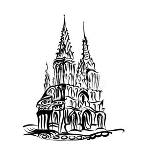 300x300 Sketch Of A Catholic Church In The Gothic Style Premium Clipart