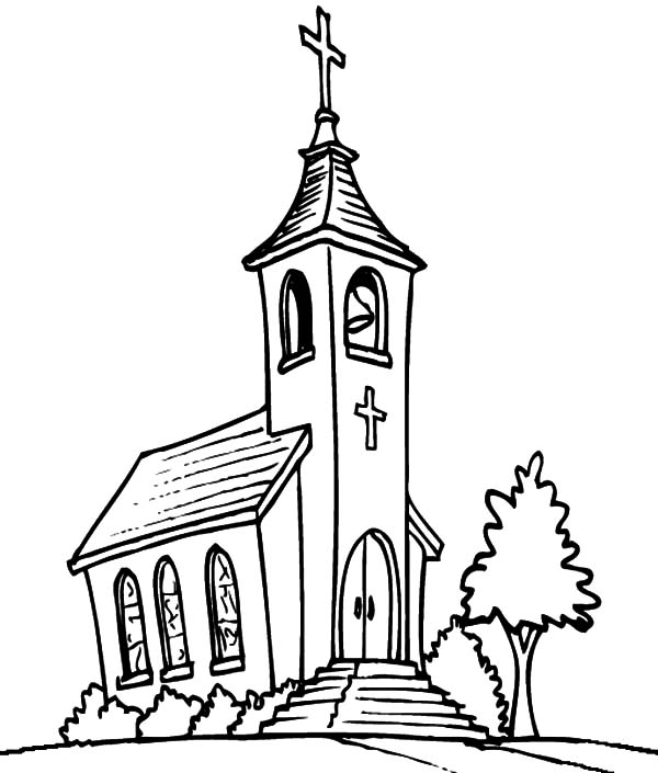 600x705 Color Drawing Church For Free Download