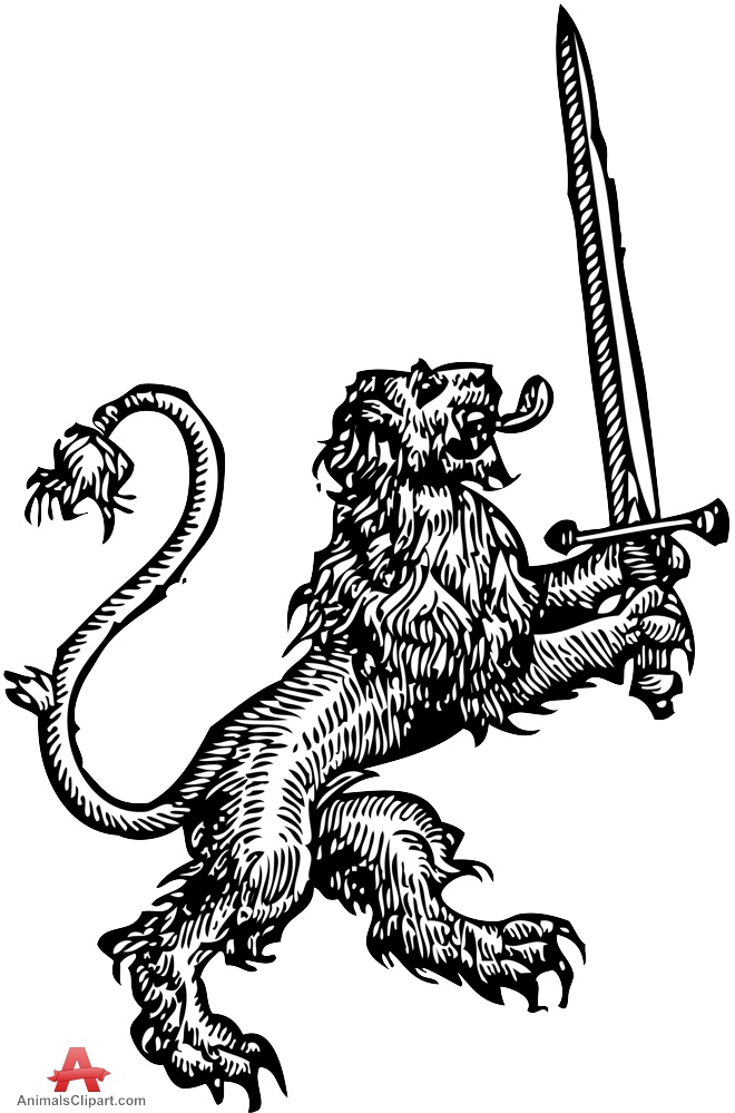 Medieval Lion Drawing