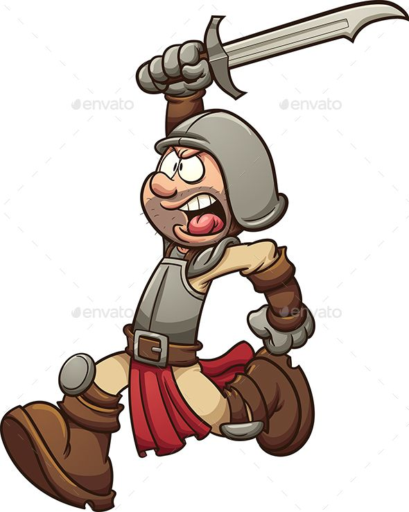 590x738 Medieval Soldier Running Vector Clip Art Illustration With Simple