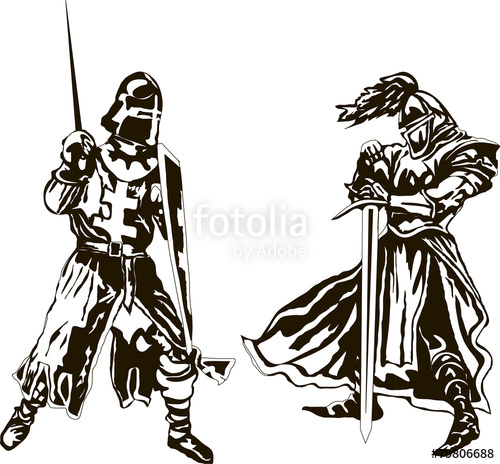 500x464 Two Medieval Knights Vector Stock Image And Royalty Free Vector
