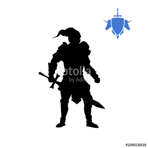 500x500 Black Silhouette Of Medieval Knight Fantasy Character Games Icon