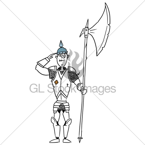 500x500 Cartoon Vector Medieval Fantasy Knight Guard Soldier Gl Stock Images