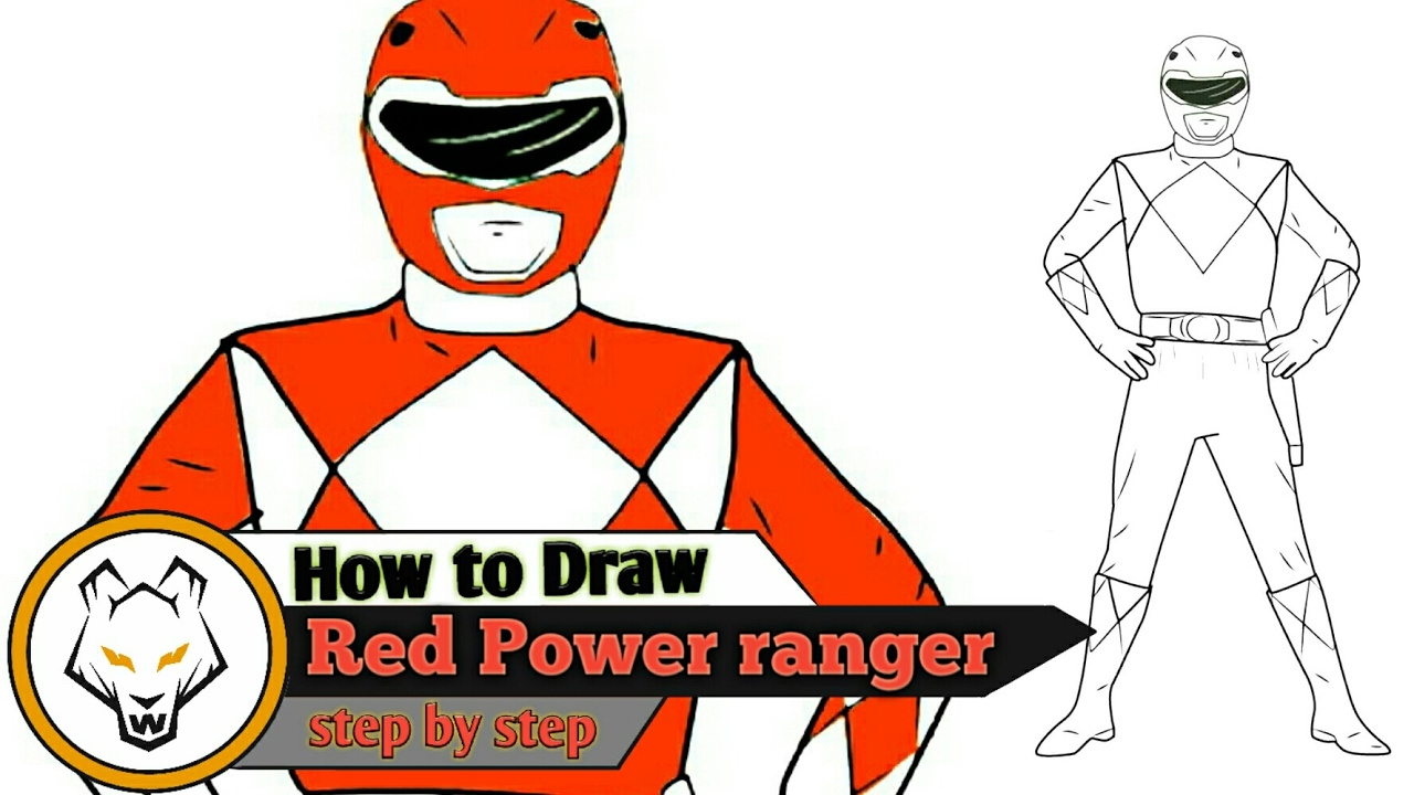 1280x720 Red Power Ranger Stepstep Drawing Just Steps Youtube