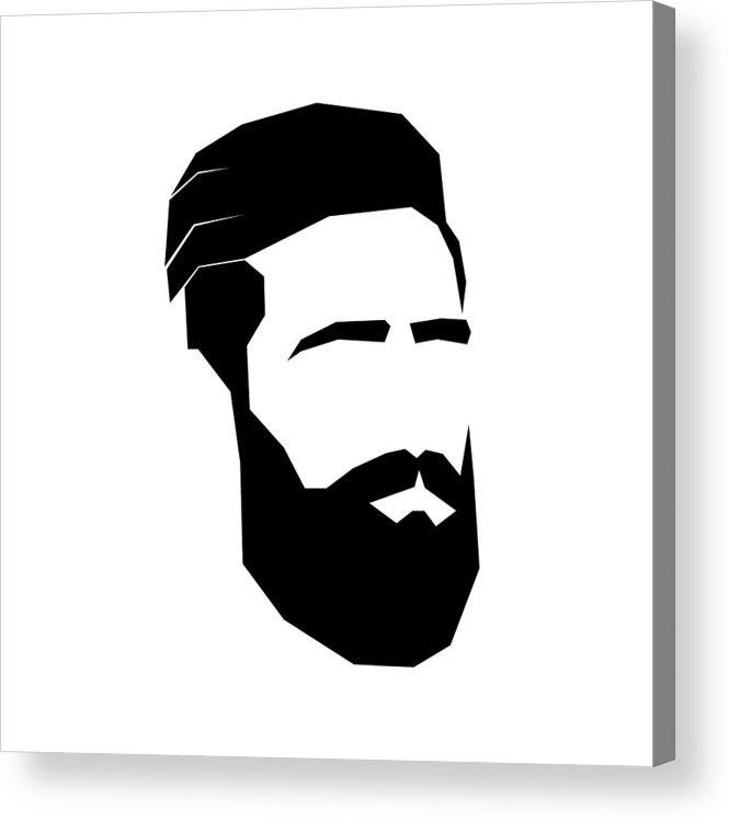 665x749 Face Of Bearded Man Sign For Men's Hair Salon Hipster Acrylic