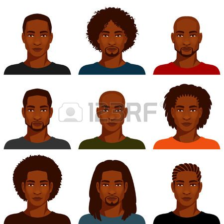450x450 Stock Vector In Men How To Draw Hair, African American