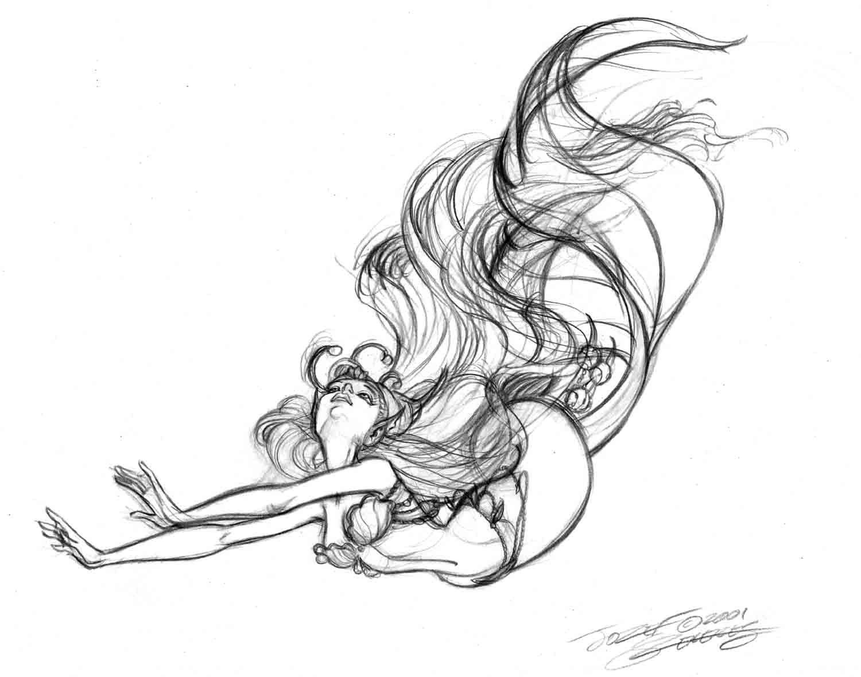 Mermaid Black And White Drawing