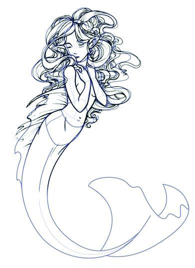 390x535 a drawing of a mermaid mermaid how to draw a mermaid fantasy