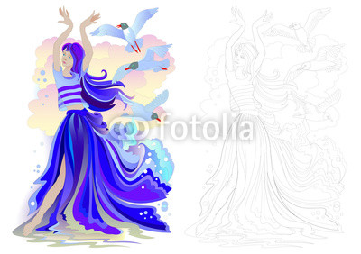 400x282 Fantasy Drawing Of Beautiful Mermaid Dancing With Seagulls