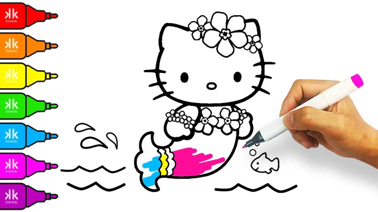 1280x720 How To Draw Hello Kitty Mermaid Coloring Pages For Kids