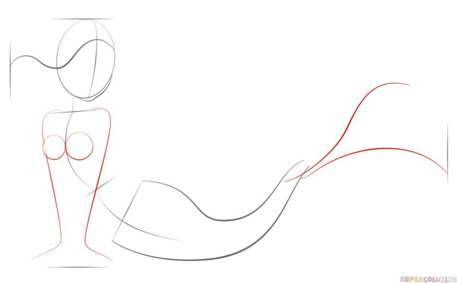 900x558 How To Draw A Cartoon Mermaid Step