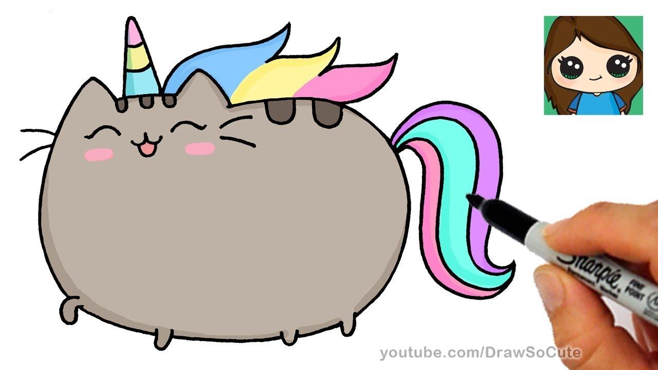 1280x720 How To Draw Pusheen Unicorn Easy