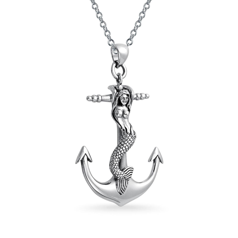 1500x1500 Large Nautical Anchor Mermaid Siren Sea Lover Pendant Necklace