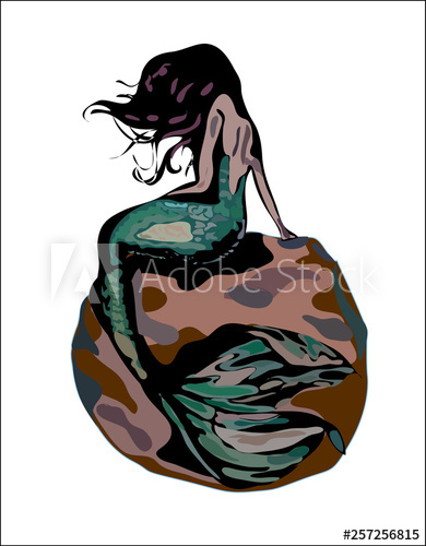 390x500 Mermaid With Hair And Green Tail On A Brown Rock Isolated On White