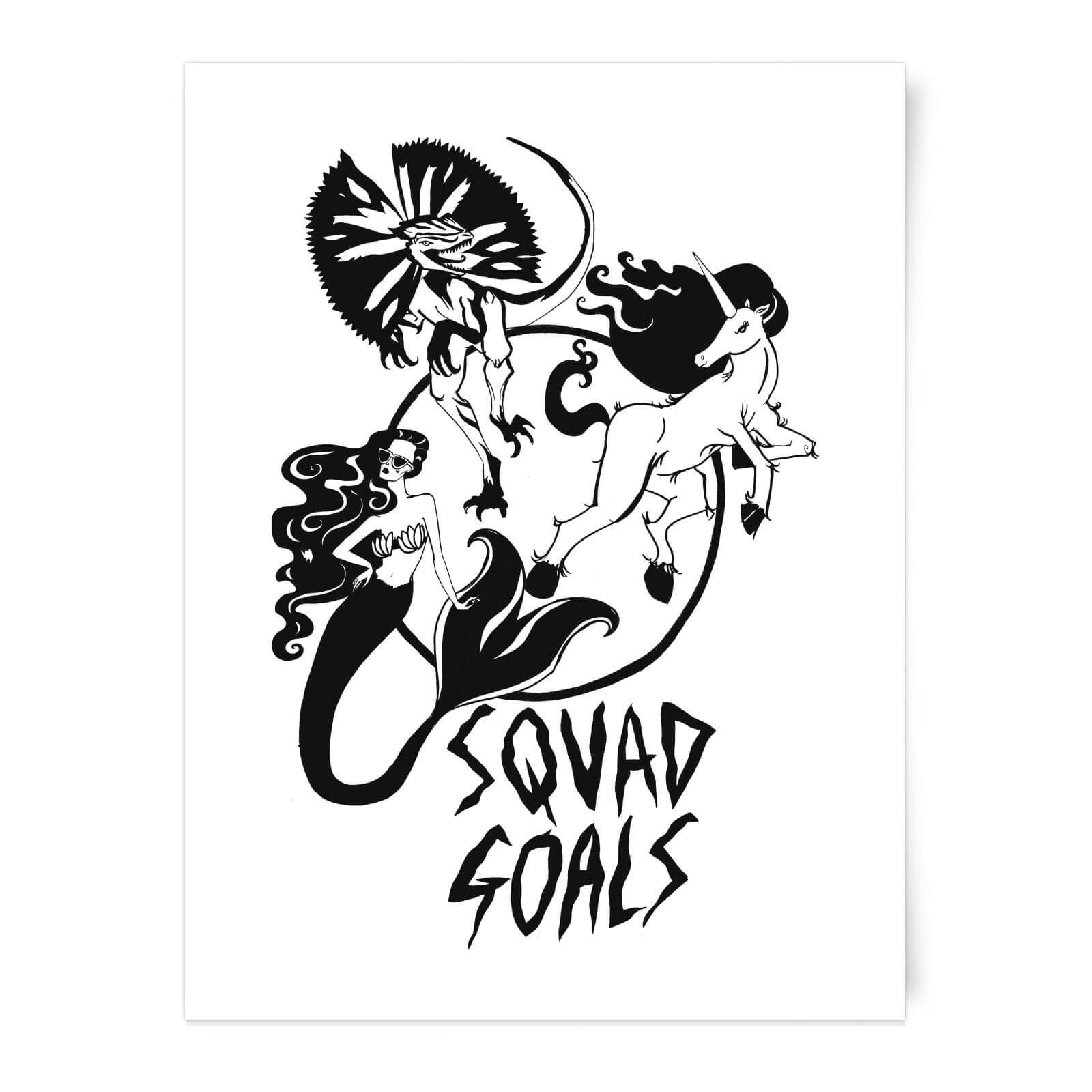 1600x1600 Rock On Ruby Mermaid, Unicorn And Dinosaur Squad Goals Art Print