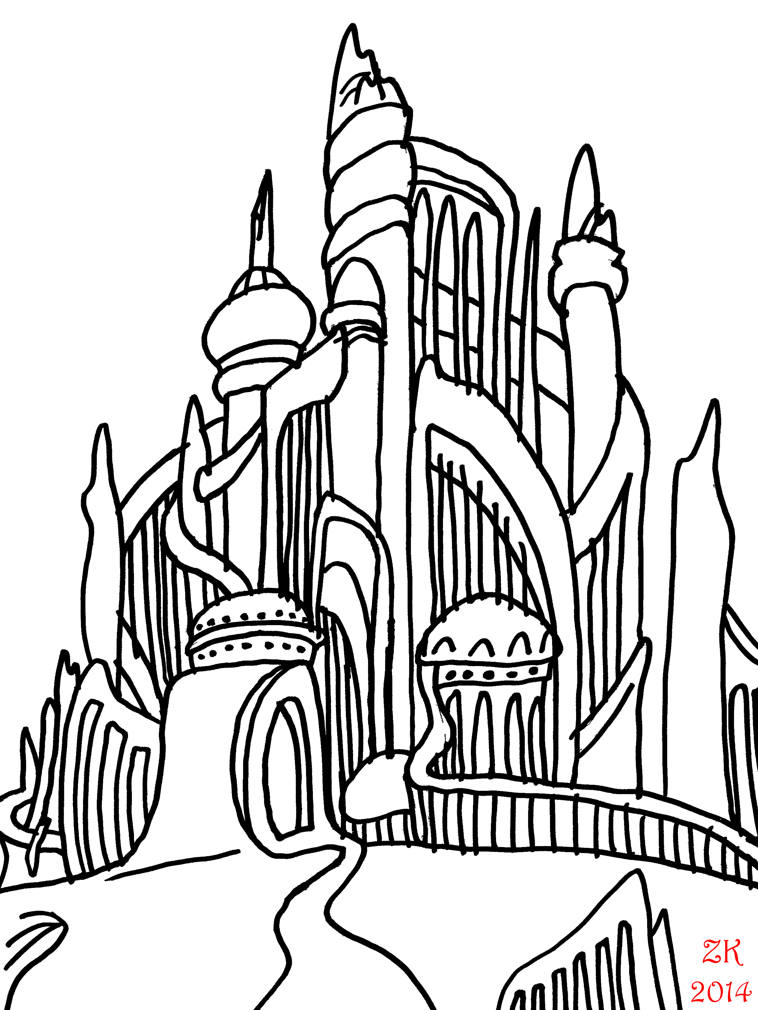 2500x3333 Mermaid Drawing Castle For Free Download
