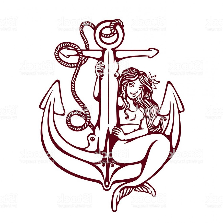 1228x1228 Siren Mermaid Pin Up Girl On Anchor Old School Tattoo Vector